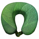 VIAGGI U Shape Memory Foam Printed Neck Pillow - Leaf Green