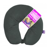 VIAGGI Microbead U Shape Travel Neck Pillow With Fleece - Grey