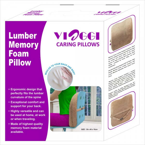 VIAGGI Lumbar Support Memory Foam Back Pain Pillow
