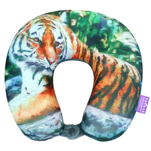 VIAGGI Tiger Grey 3D Print U Shaped Memory Foam Travel Neck and Neck Pain Relief Comfortable Super Soft Orthopedic Cervical Pillows
