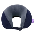VIAGGI U Shape Super Soft Memory Foam Travel Neck Pillow for Neck Pain Relief Cervical Orthopedic Use Comfortable Neck Rest Pillow - Navy Grey