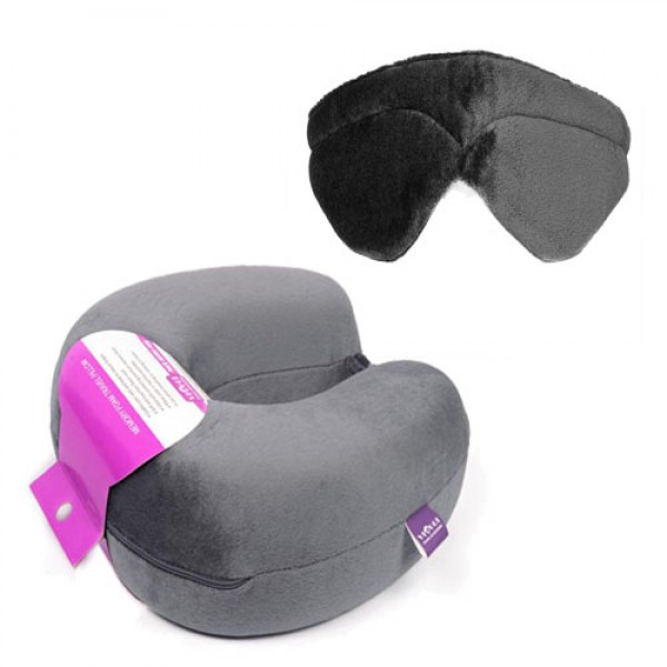 VIAGGI Memory Foam Combo (Neck Pillow with Eye Mask)