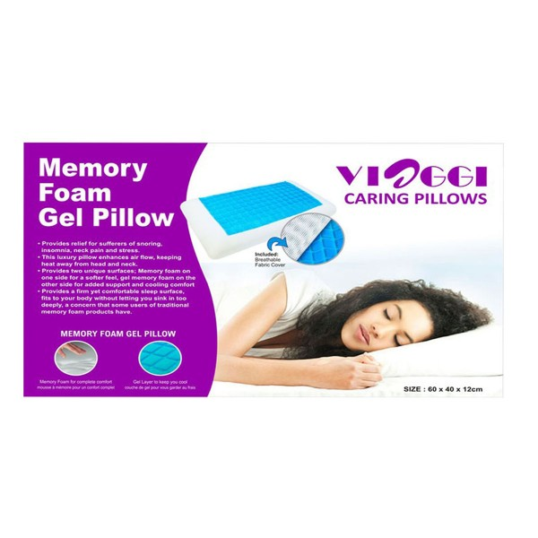 VIAGGI Memory Foam Sleeping Pillow With Cooling Gel - White