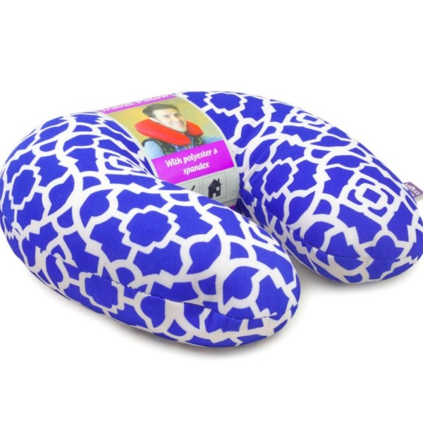 VIAGGI Microbead U Shape Travel Neck Pillow - Trellis Blue