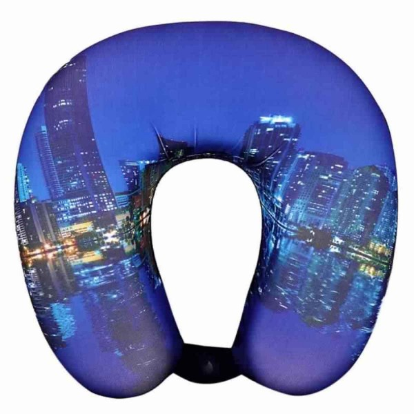 VIAGGI City Blue 3D Print U Shaped Memory Foam Travel Neck and Neck Pain Relief Comfortable Super Soft Orthopedic Cervical Pillows